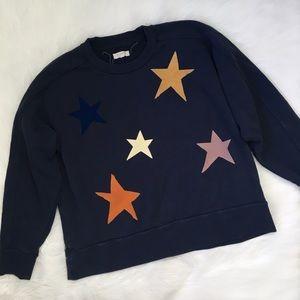 Madewell Navy Blue Star Print Sweatshirt